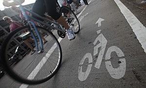 Cycling Commuter Uses Bike Lane