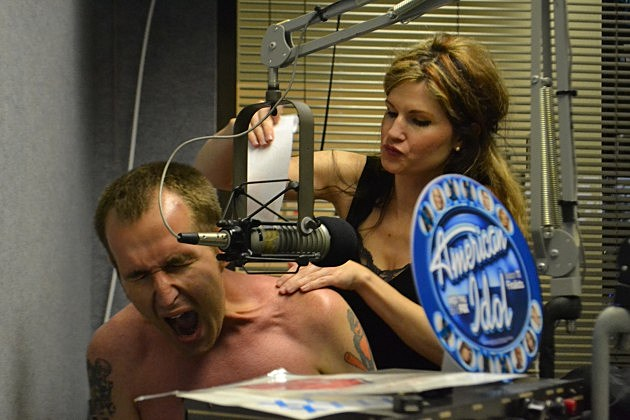 Eric the Intern gets his chest (and back) waxed in the 92.9 NIN Studio