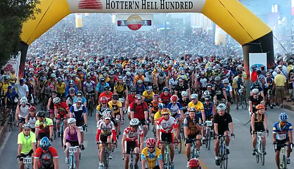 Starting line at the Hotter'N Hell Hundred