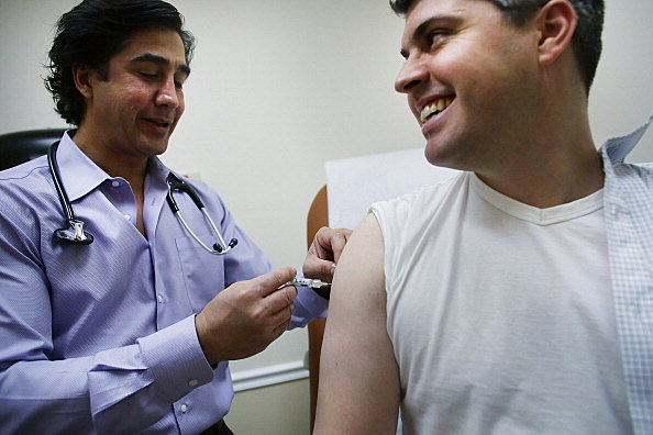 Man getting a flu shot