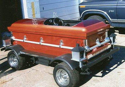 This custom coffin car could be yours!