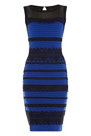 The dress is blue and black