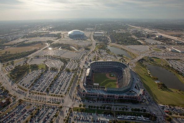 Rangers Ballpark and Cowboys Stadium in Arlington, Texas