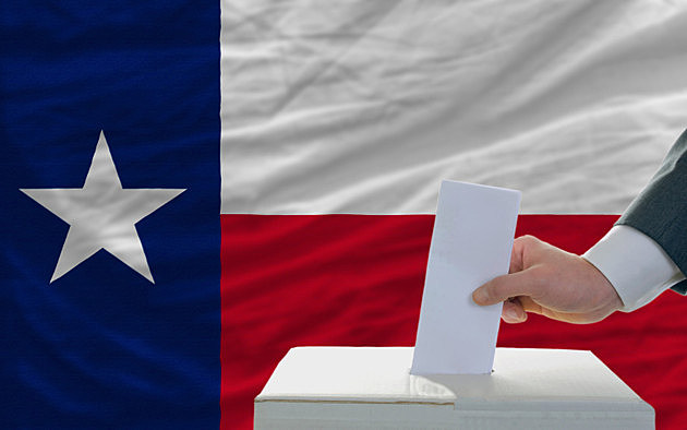 man voting on elections in front flag of texas